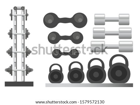 Sports equipment for gym and fitness isolated icons vector. Training tools and workout, exercising with barbells and kettlebells, sporting items. Heave weight lifting and muscles pump, body building