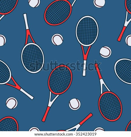 Sports equipment hand drawn seamless pattern vector. Doodle navy blue background. Cartoon illustration sport objects