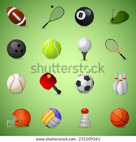 sports equipment icons set with
