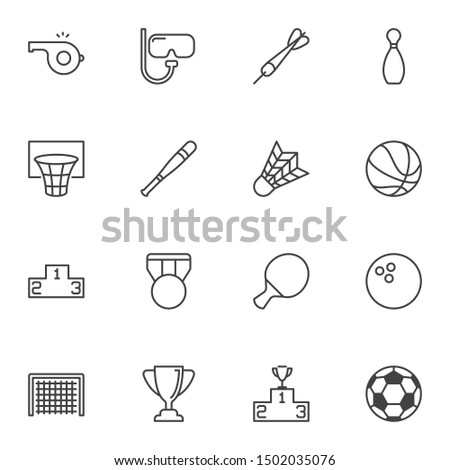 Sports equipment line icons set. linear style symbols collection, outline signs pack. vector graphics. Set includes icons as basketball ball, medal, winners podium, award cup, referee whistle, soccer