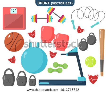 Sports Equipment on white background.Equipment for sports and physical activity.Set of Flat Items.Sticker with treadmill, kettlebell, ball, jump rope, scales, bat.Modern vector illustration, EPS 10.