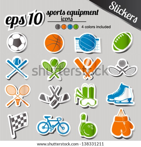 sports equipment stickers set 4 color set