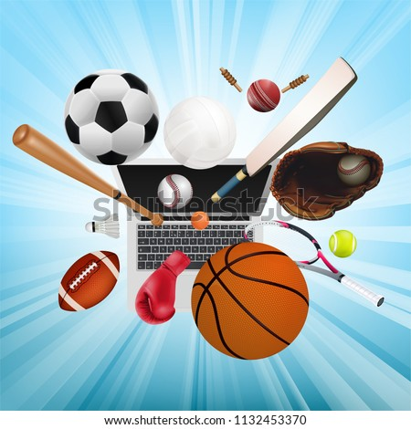 Sports equipment with a football basketball baseball soccer tennis ball volleyball boxing gloves and badminton as a symbol of sports online on blue background. vector and illustration.