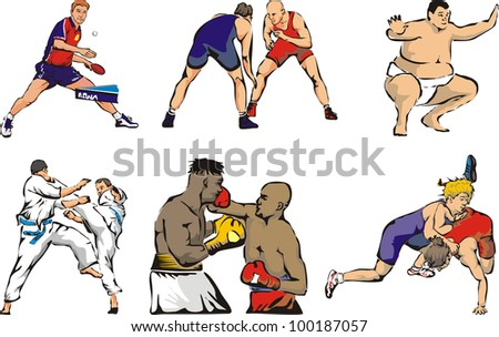 sports figures - martial arts and table tennis