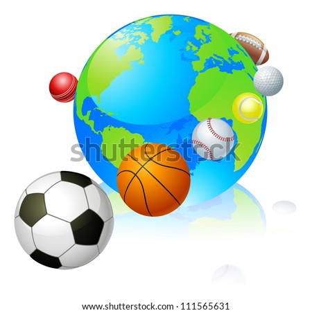 Sports globe world concept, a globe with different sports balls flying around it.