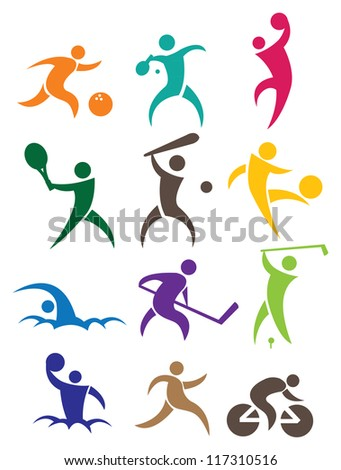 Sports icon with people in different colors. Vector illustration.