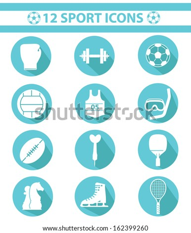 Sports icons,Blue version,vector