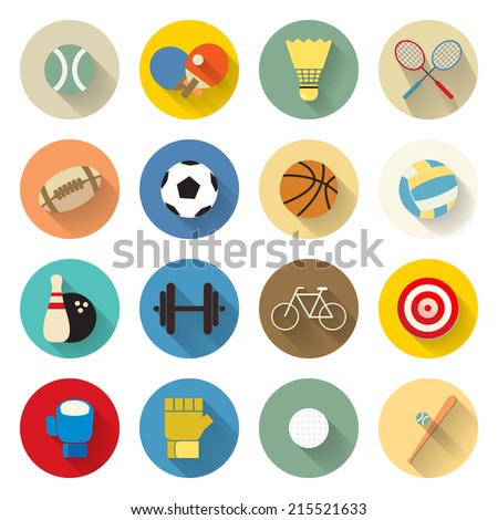 sports icons set flat design with long shadow