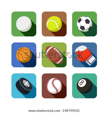 sports icons. set of vector illustration. isolated on white background EPS10. Transparent objects and opacity masks used for shadows and lights drawing