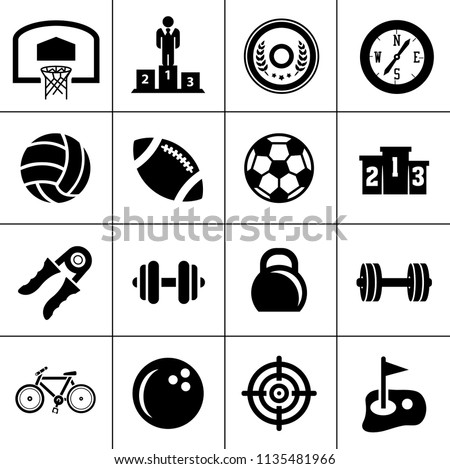 Sports icons set - play game sign and symbols. gym exercise. fitness icons