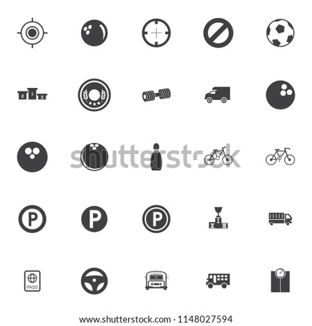 Sports icons set - play sign and symbols