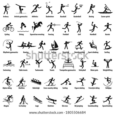 Sports icons. Vector isolated black pictograms with the names of sports disciplines Stock photo ©