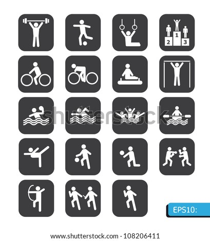 sports icons vector on black button