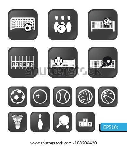 sports icons vector on black buttons