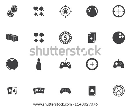 sports, icons, video game icons set - computer play sign and symbols