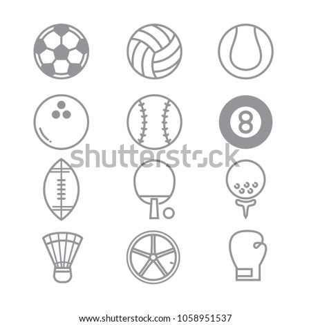 Sports Icons with White Background