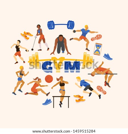 Sports in gym and sportsmen performing exercises vector illustration. Sporting runners, jumpers, athletes and disk throwing cartoon characters. Sport accessories.