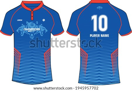 Sports jersey t shirt design concept vector template, Cricket jersey concept with front and back view for Delhi Capitals Jersey