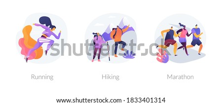 Sports lifestyle abstract concept vector illustration set. Running and hiking, marathon, daily athletic workout, training exercise, trekking trail, speed race, street fitness abstract metaphor.