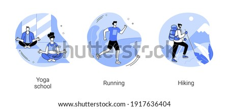 Sports lifestyle abstract concept vector illustration set. Yoga school, running and hiking, fitness studio, meditation practice, morning jogging, mountain climbing, trekking trail abstract metaphor.