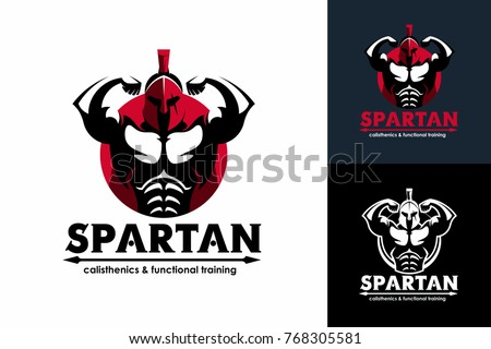 sports logo template with spartan warrior