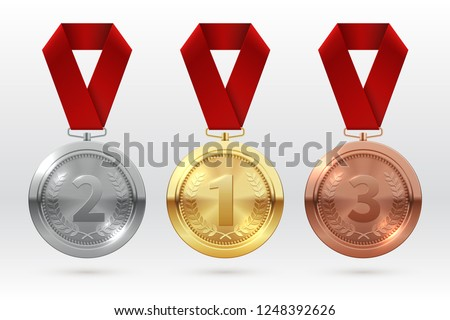 Sports medals. Golden silver bronze medal with red ribbon. Champion winner awards of honor vector isolated template