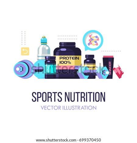 Sports nutrition. Fitness. Protein, shakers, dumbbell, energy drinks. Set of design elements. Vector illustration isolated on white background.