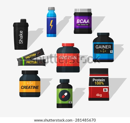 sports nutrition icons in flat
