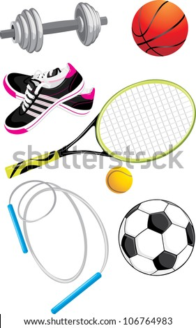 Sports objects isolated on the white. Vector - stock vector