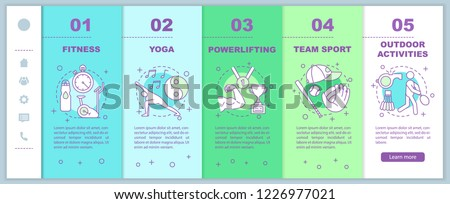 Sports onboarding mobile web pages vector template. Healthy lifestyle. Physical activity. Fitness and wellness. Smartphone website interface with linear illustrations. Webpage walkthrough step screens