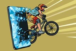 sports online news concept. athlete cyclist in a helmet on a mountain bike. Online Internet application service program. Pop art retro vector illustration drawing vintage kitsch