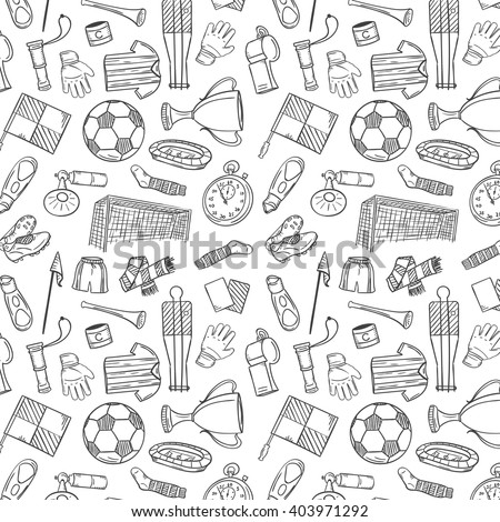 Sports Pattern With Soccer/Football Symbols in Hand Draw Style. Vector Illustration