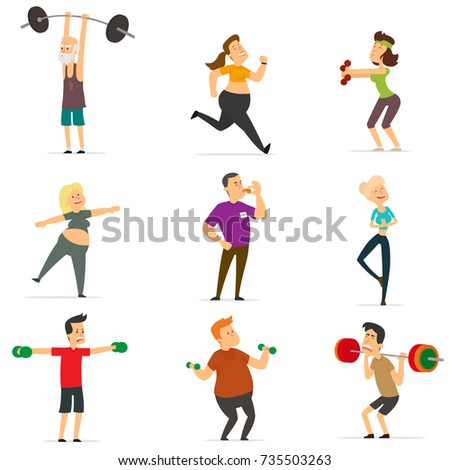 sports people in the flat style. vector illustration.