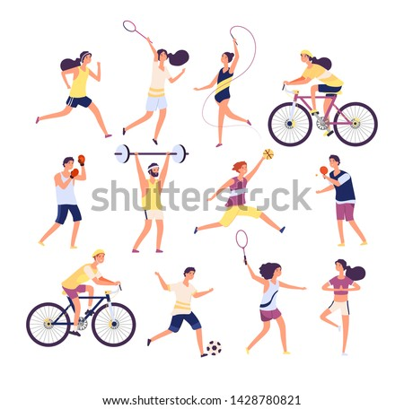 Sports people set. Exercising persons gymnast, runner and tennis player, boxer and footballer. Isolated cartoon vector characters set. Man sportive, woman runner, game football volleyball illustration