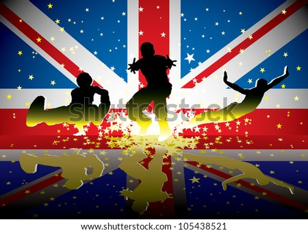 Sports people with british flag and reflection with exploding stars