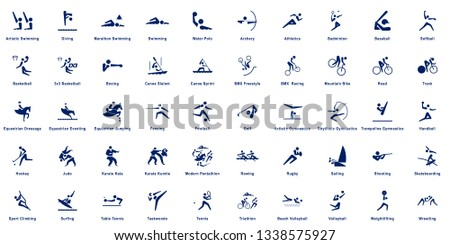 Sports pictograms, collection of 50 sport vector pictograms.