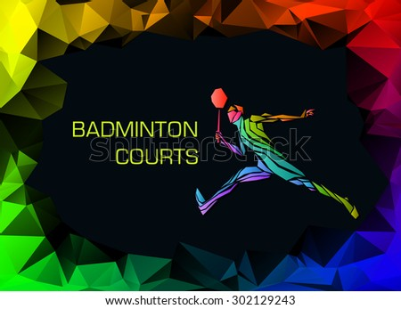 Sports poster with badminton player colorful on dark background. Trendy polygons, vector illustration