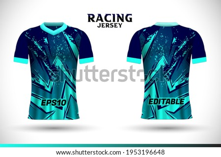 Sports racing jersey design. Front back t-shirt design. Templates for team uniforms. Sports design for football, racing, gaming jersey. Vector.