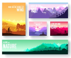 Sports rest day vector brochure cards set.  Tourism on nature template of flyer, magazines, poster, book cover, banners. Active lifestyle invitation concept background. Layout illustration modern page