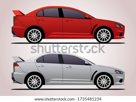 sports sedan in two colors
