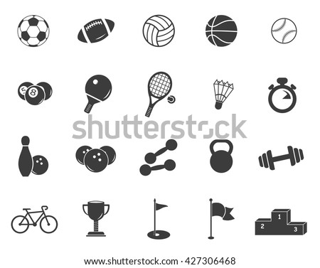 Sports set icons. Flat vector illustration in black on white background. EPS 10 ball weight tennis podium billiards rugby bowling baseball football basketball stopwatch