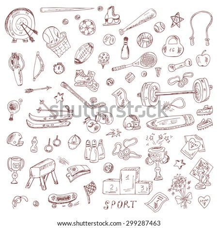 Sports. Set of sports equipment. Hand Drawn Doodles Vector illustration.