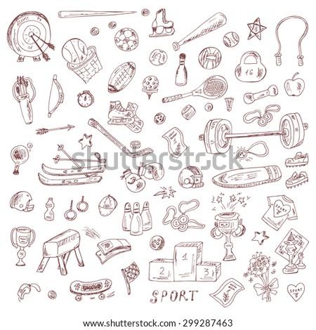 Sports. Set of sports equipment. Hand Drawn Doodles Vector illustration.