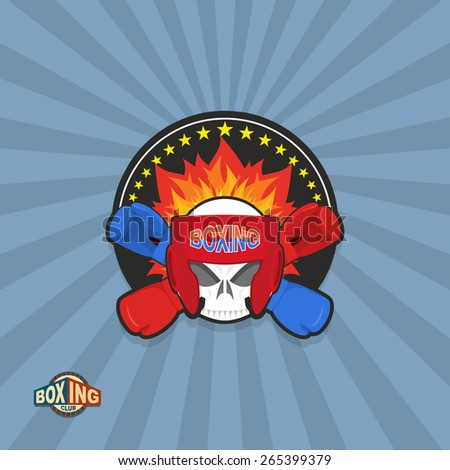 Sports shield emblem. Boxing logo skull. Logotype  boxing Club. Skull in boxing gloves and helmet, with fire