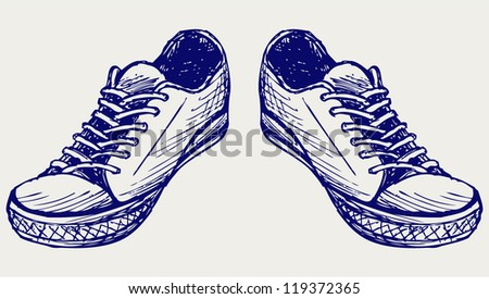 Sports shoes. Doodle style
