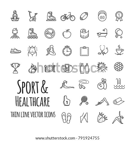 Sports, sports equipment, healthy lifestyle icons set for your design