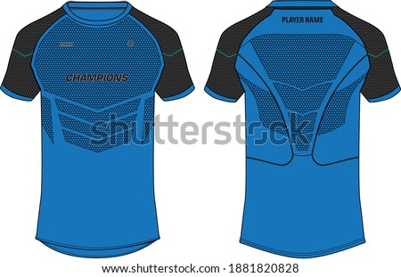 Sports t-shirt jersey design concept vector template, sports jersey concept with front and back view for Soccer, Cricket, Football, Volleyball, Rugby, tennis, badminton and e-sports uniform.