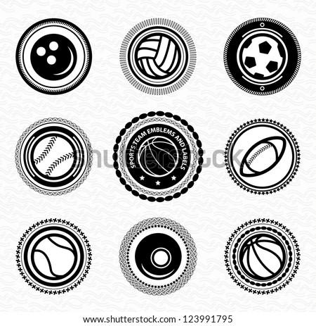 Sports team vintage retro badges and labels