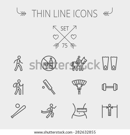 Sports thin line icon set for web and mobile. Set includes- walking exercise, hiking, baseball bat and ball, cricket game, skydiving, flippers icons. Modern minimalistic flat design. Vector dark grey