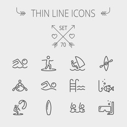 Sports thin line icon set for web and mobile. Set includes- wind surfing, pool, swimming, surfboarding, kayak, wind surf, snorkeling, fishing icons. Modern minimalistic flat design. Vector dark grey